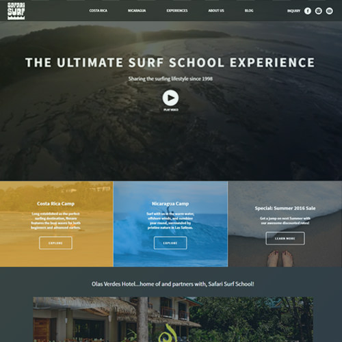 Ultimate surfing experience tour website