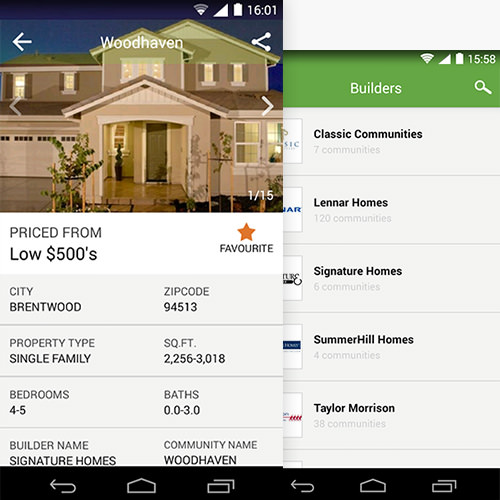 Home listing app for real estate