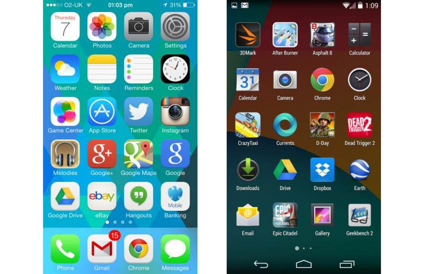 Comparison with iOS 7
